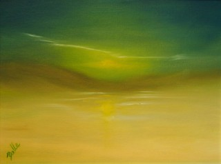 An Oil painting by Belinda Jane McDonnell in the Abstract style  depicting Landscape Fantasy with main colour being Cream Green and Yellow and titled Soulful