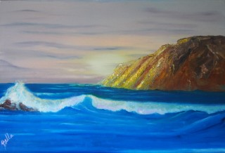 An Oil painting by Belinda Jane McDonnell in the Realist Impressionist style  depicting Seascape Beach Mountains and Water with main colour being Blue and Brown and titled Golden Mountain
