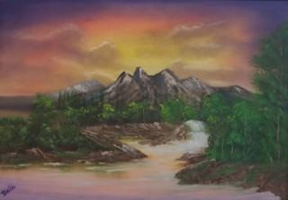 An Oil painting by Belinda Jane McDonnell in the Realist Impressionist style  depicting Landscape Mountains Sunset and Trees with main colour being Brown Green and Orange and titled Heavenly stream