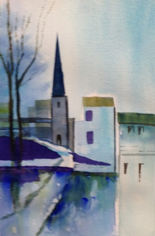 A Watercolour artwork by Barbara McGuire in the Realist Impressionist style  depicting Landscape Buildings and titled The Village Church