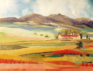 An Acrylic painting by Barbara McGuire in the Contemporary Realist style  depicting Landscape Mountains and Rural with main colour being Blue Orange and Red and titled Towards Angaston
