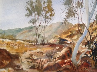 A Watercolour artwork by Barbara McGuire in the Realist Impressionist style  depicting Landscape Rural with main colour being Blue and Brown and titled Outback Australia
