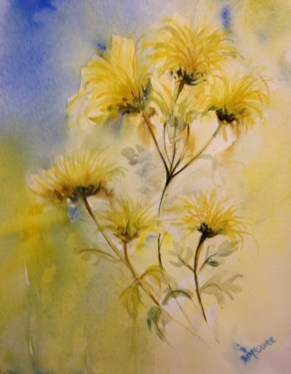 A Watercolour artwork by Barbara McGuire in the Realist Impressionist style  depicting Flowers with main colour being Blue and Yellow and titled A Touch of Yellow