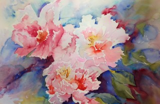 A Watercolour artwork by Barbara McGuire in the Realist Impressionist style  depicting Flowers with main colour being Cream Pink and Red and titled Pink Flowers