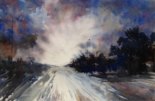 A Watercolour artwork by Barbara McGuire in the Realist style  depicting Landscape Storm with main colour being Black Blue and Cream and titled Approaching Storm
