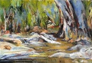 A Mixed Media artwork by Barbara McGuire in the Realist Impressionist style  depicting Landscape Trees with main colour being Black Blue and Brown and titled The Pool
