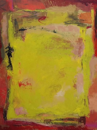 An Acrylic painting by Dawn Lim in the Abstract style  Fantasy and Rural with main colour being Red and Yellow and titled Golden Field