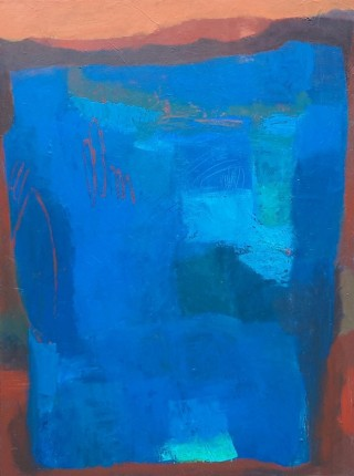An Acrylic painting by Dawn Lim in the Abstract style  depicting  with main colour being Blue and titled Blue Composition