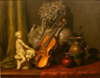 An Oil painting by Gregory R. Smith in the Realist style  depicting Still Life Music Statue and Vases with main colour being Brown and titled Laocoon with Violin