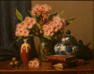 An Oil painting by Gregory R. Smith in the Realist style  depicting Flowers and Vases with main colour being Brown and Pink and titled Splashes of Pink Ficifolia
