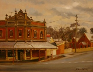 An Oil painting by Gregory R. Smith in the Realist style  depicting Landscape Buildings and Streets with main colour being Brown and titled Old Phoenix Building, Maldon