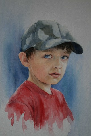 A Watercolour artwork by Sharon Moroney in the Realist style  depicting Children with main colour being Blue Green and Red and titled Boy