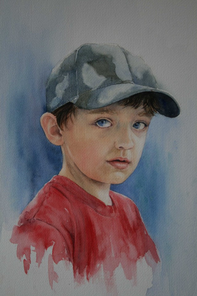 Watercolour Painting by Sharon Moroney titled Boy