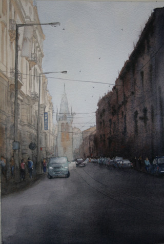 A Watercolour artwork by Sharon Moroney in the Realist Impressionist style  depicting Buildings and Streets with main colour being Brown Grey and Purple and titled Morning delivery van