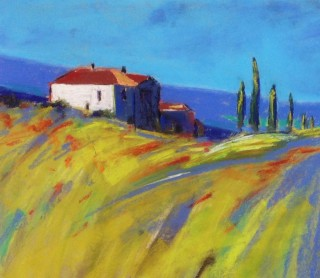 A Pastel artwork by Janette Humble in the Impressionist style  depicting Landscape Buildings Farmland and Hills with main colour being Blue Green and Orange and titled Poppies on the Hill