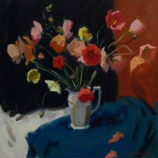 An Oil painting by Peter Smales in the Impressionist style  depicting Flowers with main colour being Black Grey and Pink and titled Floral Still Life