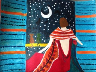 An Acrylic painting by Amal Alyaseen in the Semi-Abstract style  depicting Woman Moon with main colour being Blue and Red and titled Moonlight