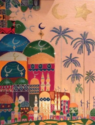 An Acrylic painting by Amal Alyaseen depicting Buildings and Trees with main colour being Blue Pink and Red and titled Thousand Nights and One Night