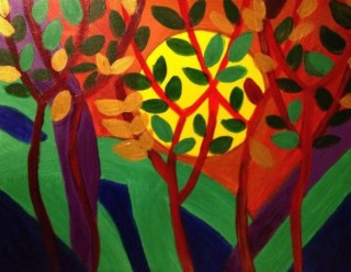 An Acrylic painting by Amal Alyaseen in the Contemporary style  depicting Trees Sunset with main colour being Brown Green and Red and titled Sunset