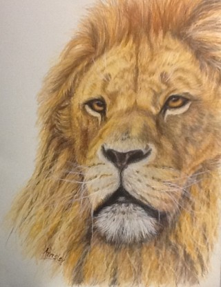 A  painting by Ainsley McPherson depicting Animals with main colour being Ochre and titled The Lion