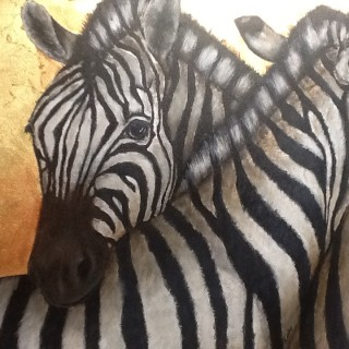 An Acrylic painting by Ainsley McPherson in the Realist style  depicting Animals with main colour being Black White and Yellow and titled Zebras