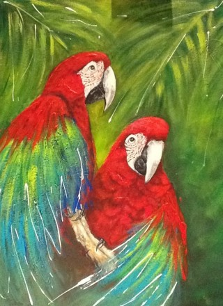 A  painting by Ainsley McPherson in the Realist style  depicting Animals Birds with main colour being Blue Green and Red and titled Tropical Birds