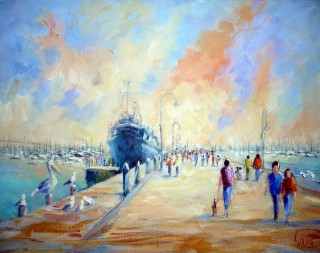 An Acrylic painting by Ivana Pinaffo in the Realist Impressionist style  depicting Landscape Beach Boats and People with main colour being Blue Cream and Pink and titled Gem Pier Williamstown