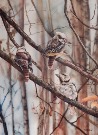 An Acrylic painting by Kathy Medbury in the Realist style  depicting Animals Birds and Trees with main colour being Blue Brown and Orange and titled I'm Listening