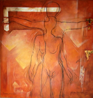 An Acrylic painting by Lorna Thrift Brooks in the Contemporary style  depicting  with main colour being Orange and Red and titled Icarus Dreaming
