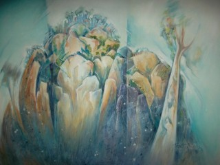 A  painting by Lorna Thrift Brooks in the Semi-Abstract style  depicting Landscape Hills Mountains and Trees with main colour being Blue and Pink and titled Hanging Rock