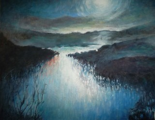 An Oil painting by Lorna Thrift Brooks depicting Landscape Hills Night and River with main colour being Black and Blue and titled Moonlight Reflections