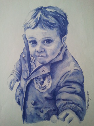 A Watercolour painting by Kathy Medbury in the Realist style  depicting Children Boy and People with main colour being Blue and titled Little boy blue