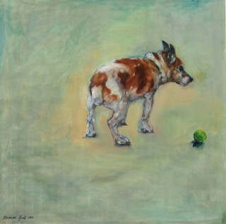 An Oil painting by Bronwen Hunt in the Realist Impressionist style  depicting  Dogs with main colour being Brown Green and White and titled Old Dog.