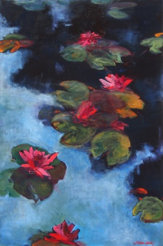 An Oil painting by Bronwen Hunt in the Realist Impressionist style  depicting  Garden and Water with main colour being Black Blue and Green and titled Lilies 3