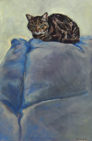 An Oil painting by Bronwen Hunt in the Realist Impressionist style  depicting Animals Cats with main colour being Blue Brown and Grey and titled King of the Couch