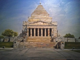 An Oil painting by Kathy Medbury in the Realist style  depicting Buildings and Man with main colour being Blue Grey and Ochre and titled The Shrine