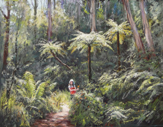 A Pastel artwork by Barbara Beasley-Southgate in the Realist style  depicting Landscape Bush and titled A Jewel in the Forest - Kallista Vic.