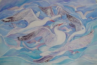 A Watercolour artwork by Heidi Hereth depicting Animals Beach Birds and Fantasy with main colour being Blue and titled On Fleeting Wings