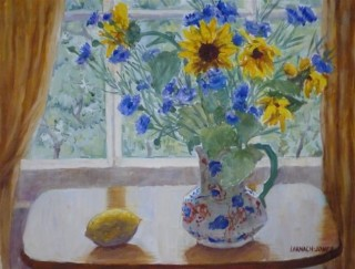 A  painting by Mary Larnach-Jones depicting  Flowers Jugs and Window and titled Laura's Sunflowers and Cornflowers