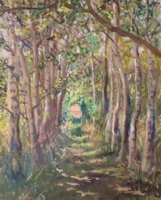 An Oil painting by Mary Larnach-Jones in the Impressionist style  depicting Landscape Trees with main colour being Brown and Green and titled Suffolk Tunnel No. 1