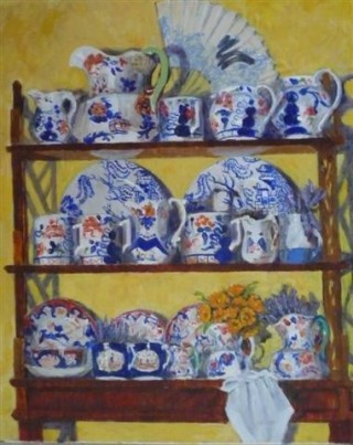 An Oil painting by Mary Larnach-Jones depicting Still Life Interior Jugs and Pots with main colour being Blue Brown and Yellow and titled Masons Ironstone Collection