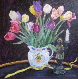 An Oil painting by Mary Larnach-Jones depicting Flowers with main colour being Black Blue and Green and titled Tulips in Dora Carrington's Jug