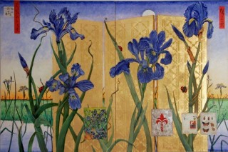 An Oil painting by Mary Larnach-Jones depicting Flowers and Oriental with main colour being Blue and Gold and titled The Iris