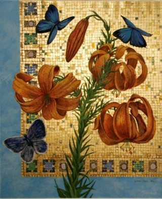 An Oil painting by Mary Larnach-Jones depicting Flowers and Oriental with main colour being Blue Gold and Red and titled Tigerlily
