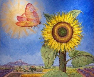 An Oil painting by Mary Larnach-Jones depicting Flowers with main colour being Blue and Yellow and titled The Sun, the Fly and the Sunflower