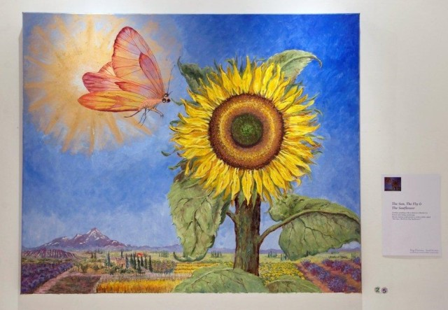 Oil Painting by Mary Larnach-Jones titled The Sun, the Fly and the Sunflower