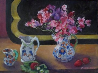 An Oil painting by Mary Larnach-Jones in the Impressionist style  depicting Still Life Flowers Jugs and Vases with main colour being Black Blue and Brown and titled Sweet Peas and Jugs