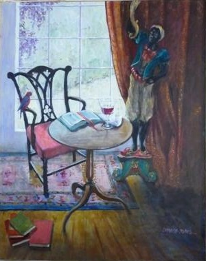 An Oil painting by Mary Larnach-Jones in the Impressionist style  depicting Still Life Books Interior and Window with main colour being Blue and Brown and titled Against the Light No. 1