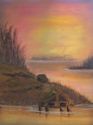 An Oil painting by Belinda Jane McDonnell in the Impressionist style  depicting Landscape Sunset and Water with main colour being Brown Orange and Pink and titled Calm