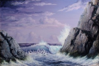 An Oil painting by JOHN COCORIS in the Realist style  depicting Seascape Beach Rocks and Sea with main colour being Blue and titled CRASHING WAVE